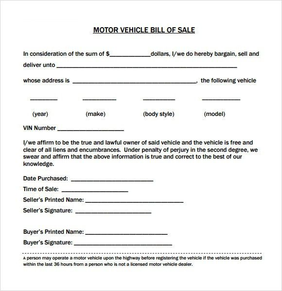 Free Bill Of Sale Template Examples For Selling Personal Property ...