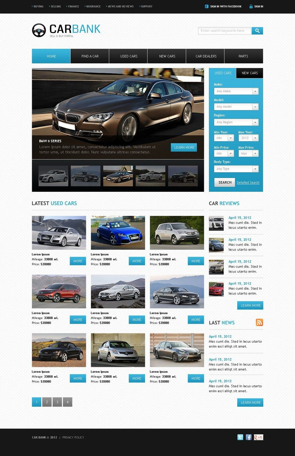 Car Dealer Website Template #39299