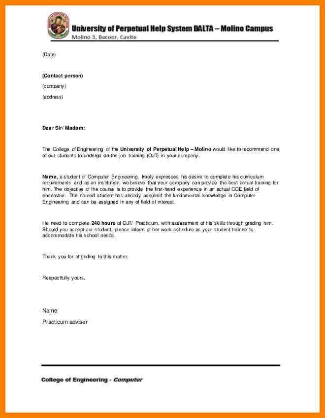 Best application letter for ojt