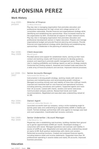 Director Of Finance Resume samples - VisualCV resume samples database