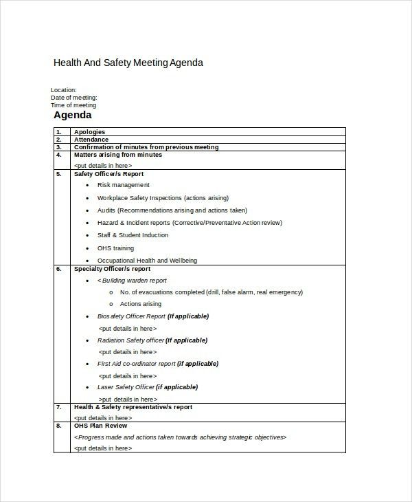 Safety Agenda Template - 6+ Free Word, PDF Documents Download ...