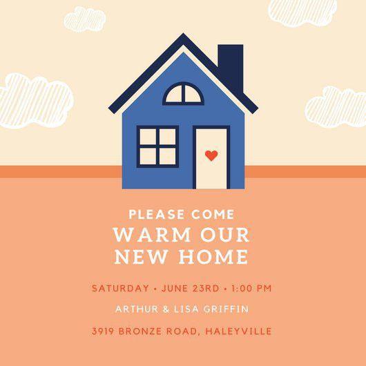 Blue House Housewarming Invitation - Templates by Canva