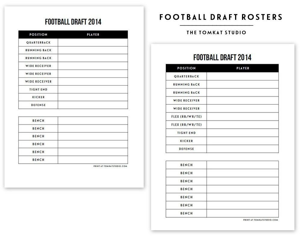 Free Printable Football Roster... | The TomKat Studio Blog