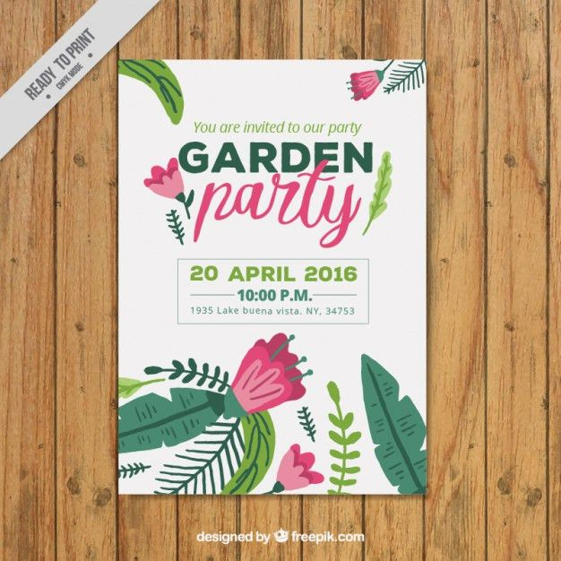 Garden party poster template Vector | Free Download