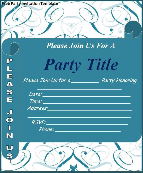Free Party Invitation Templates. Fancy Free Printable Party ...
