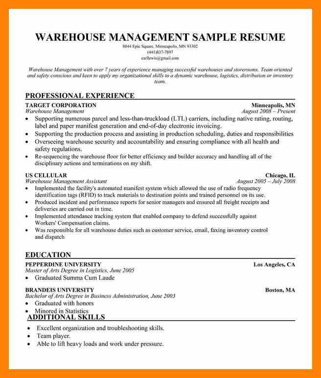 8+ warehouse manager resume | informal letter