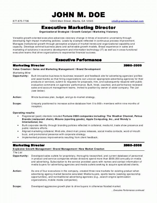 sample resumes, marketing director resume