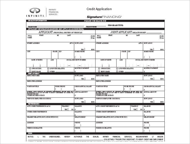 Credit Application Form Template - Free Word, PDF Download ...