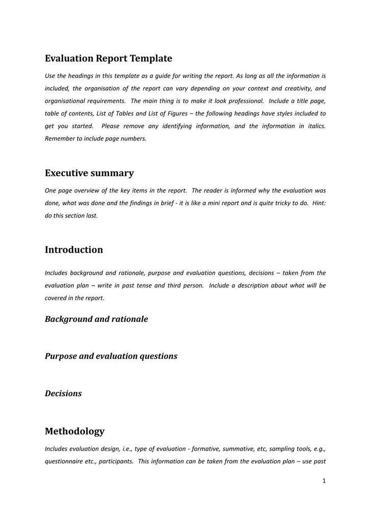 One Page Summary Template | Job.billybullock.us