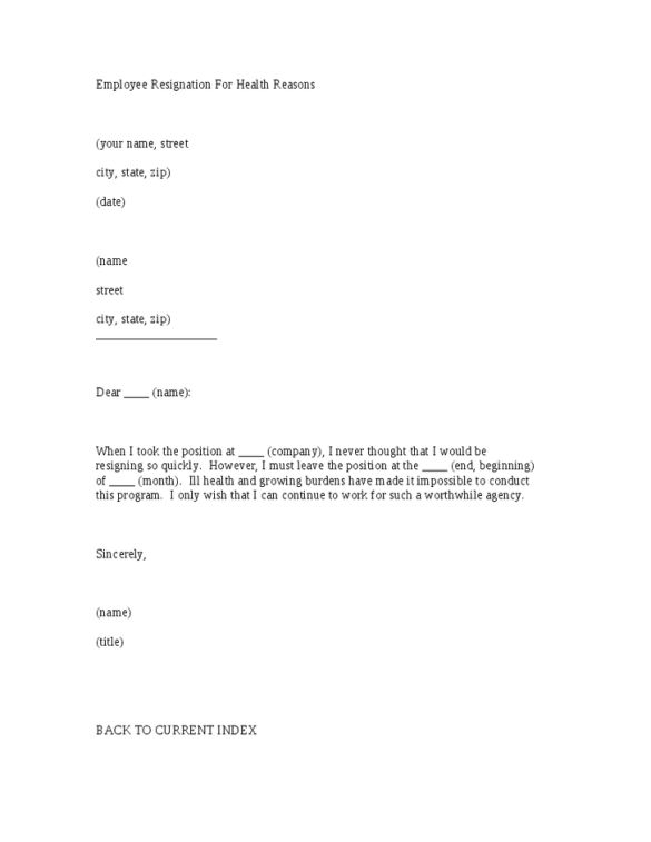 Employee Resignation Letter Sample with Health Reason : Vntask.com