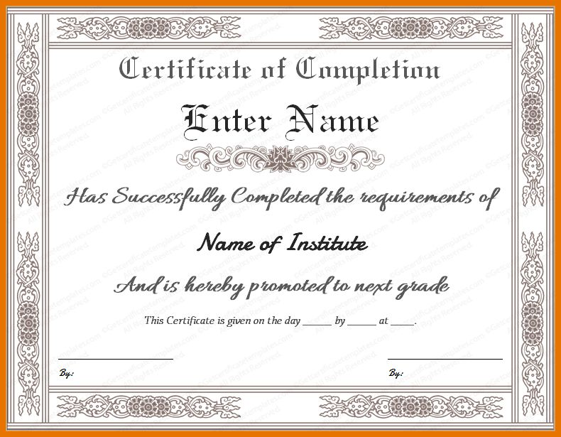 5+ completion certificate template | Itinerary Template Sample