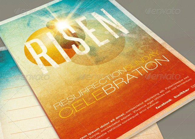 Risen Church Bulletin Template | Inspiks Market