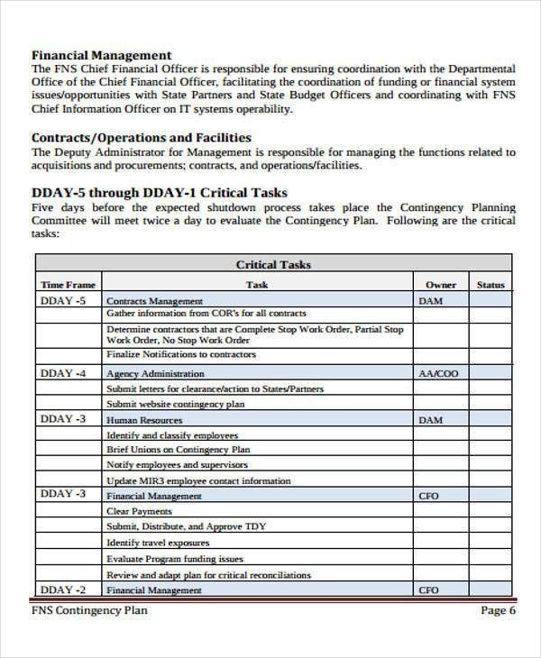 Contingency Plan Example - 9+ Samples in Word, PDF