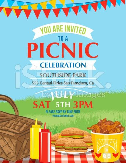 Summer picnic and BBQ invitation flyer or template. Text is on its ...
