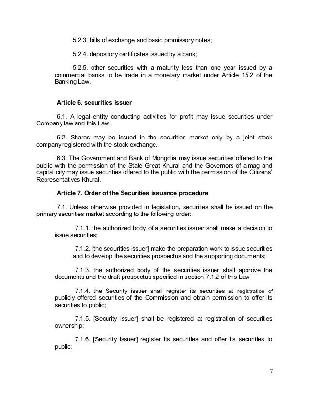 08.24.2010, LAW, Securities Law (ENG) ('Unoffcial translation' draft …