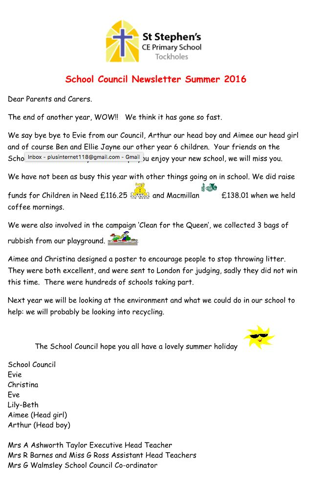 Newsletter 22nd July 2016 – Tockholes Primary School