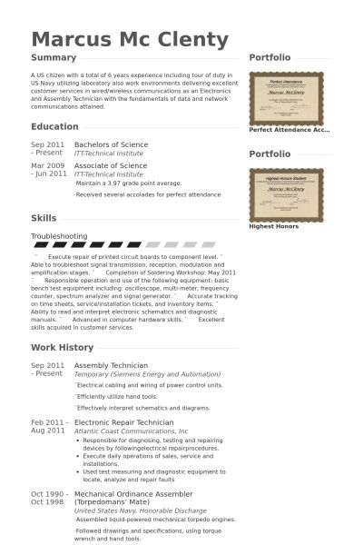 Assembly Resume samples - VisualCV resume samples database