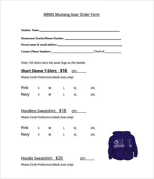 T Shirt Order Form Template Word - Business Plan Template