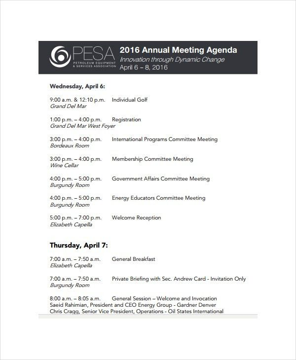 Annual Meeting Agenda Template - 8+ Free Word, PDF Documents ...