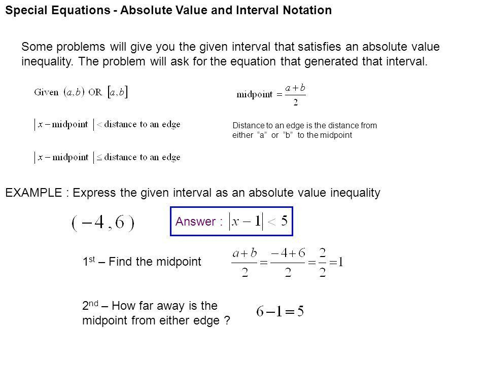 Special Equations - Absolute Value and Interval Notation - ppt ...