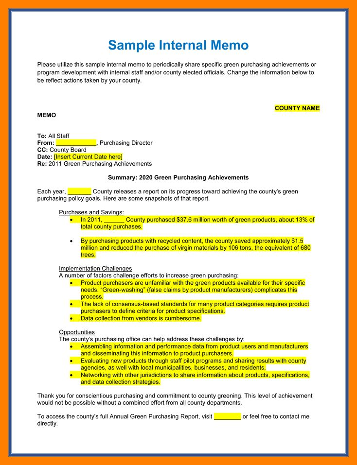 7+ internal memo template | resume sections