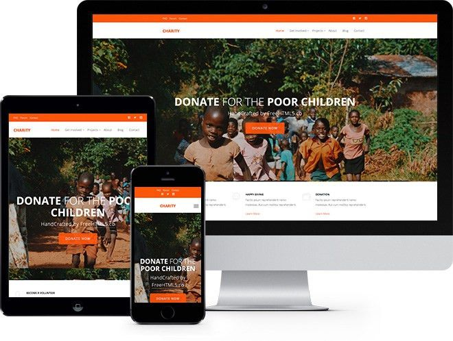 Charity Free Website Template Using Bootstrap for Non-profit ...