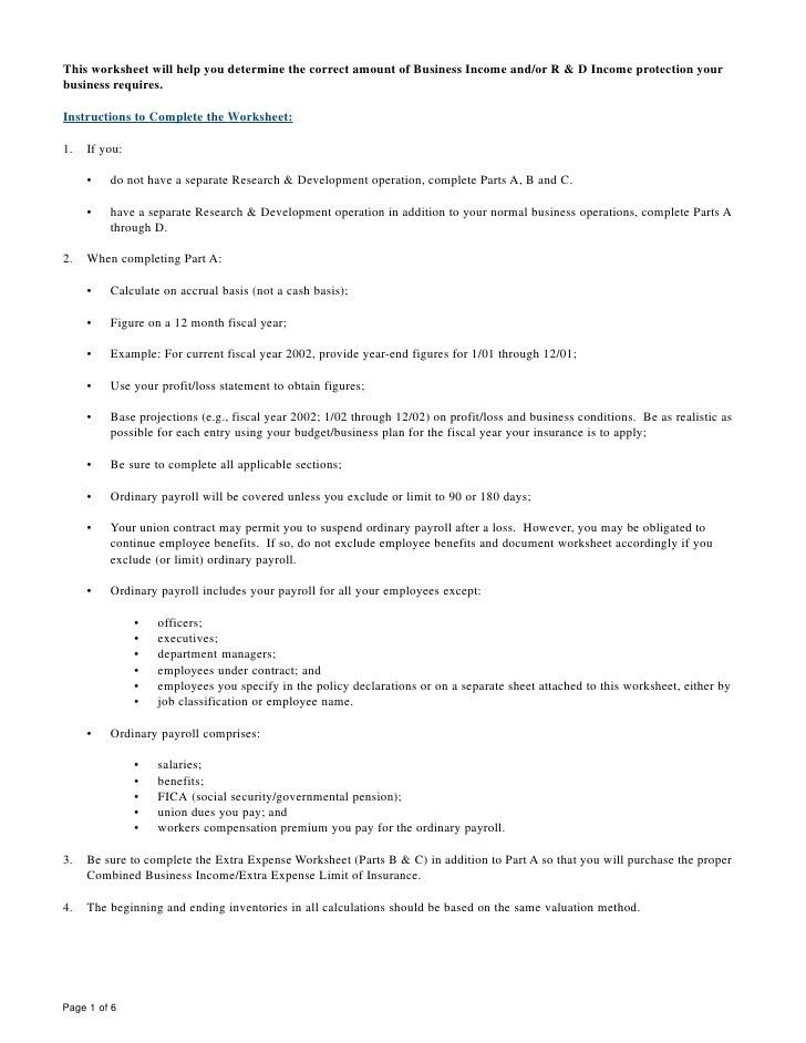 Business Income Worksheet