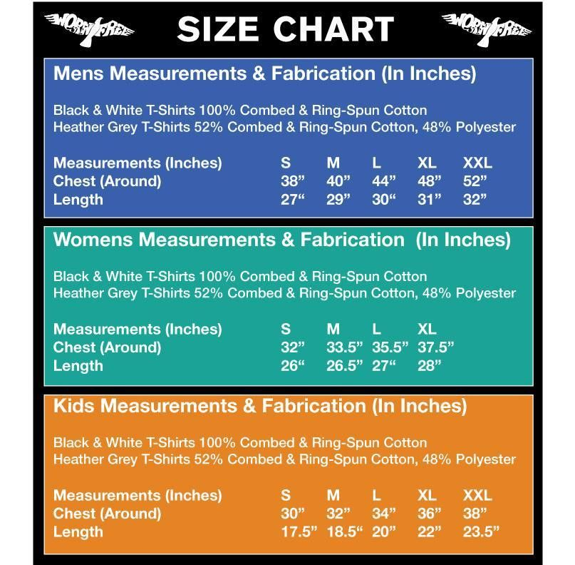 Worn Free T-Shirt Size Chart. T-Shirt Sizing for Mens, Womens ...