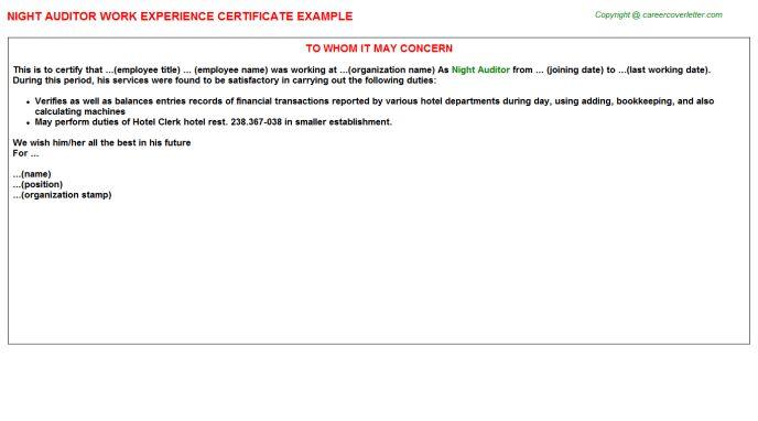 Night Auditor Work Experience Certificate