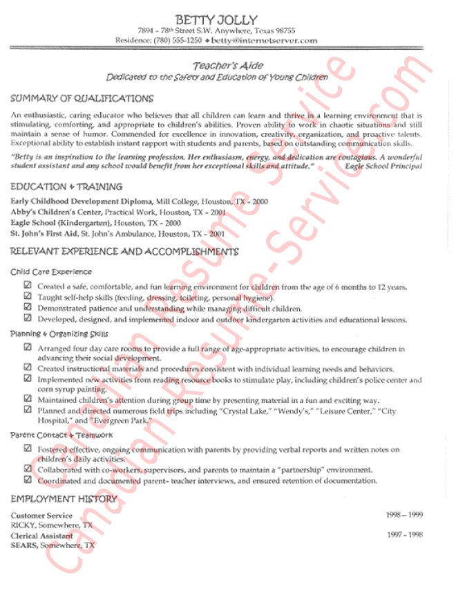Sample Resume Objectives For Teachers Aide. kindergarten teacher ...