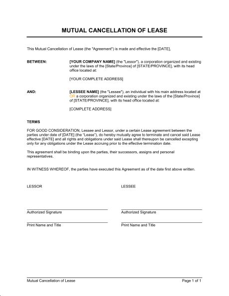 Mutual Cancellation of Lease - Template & Sample Form | Biztree.com