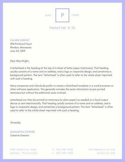 Pastel Purple Company Letterhead - Templates by Canva
