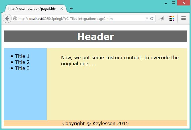 Spring MVC Tiles Integration Example - KeyLesson