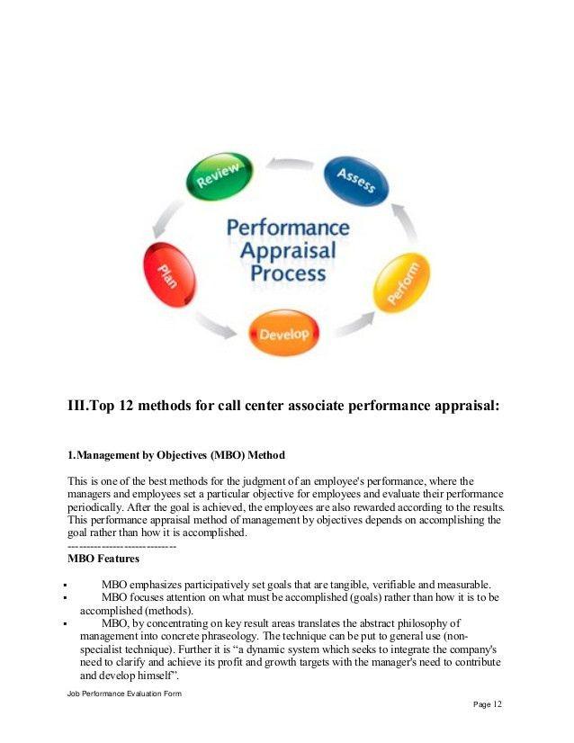 Call center associate performance appraisal