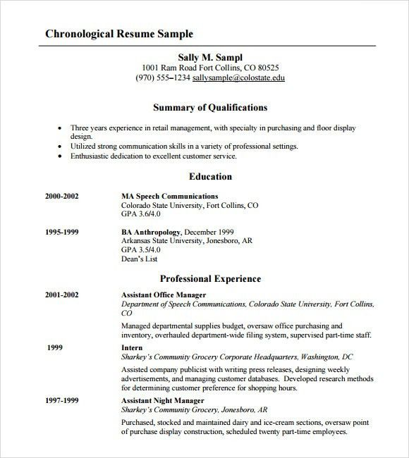 8 chronological resume templates download documents in pdf - Chronological Resume Sample