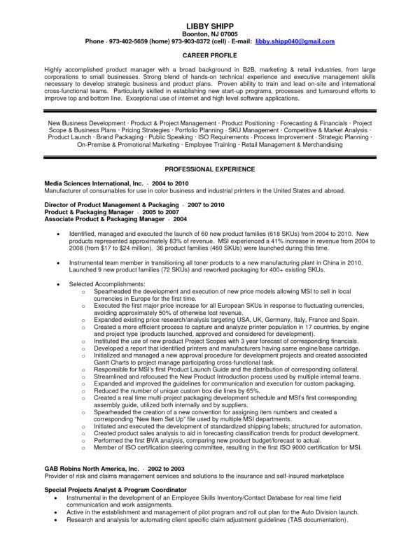 Remarkable Product Manager Resume Sample and Job Development and ...