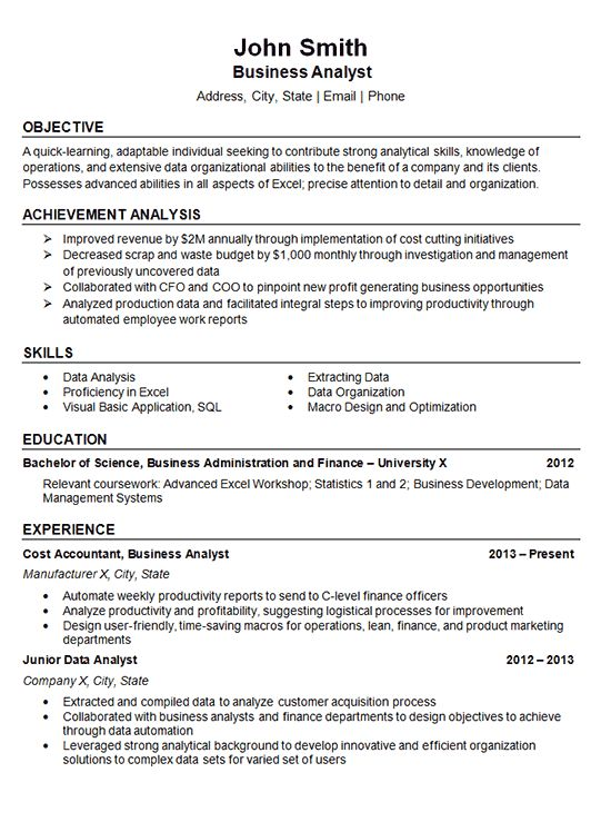 Data Analyst Resume Example - Business Finance