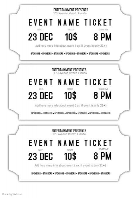 Event ticket template black and white printable | PosterMyWall