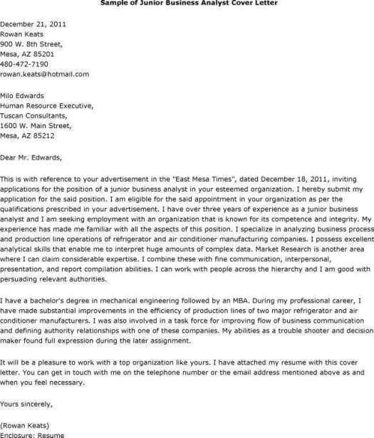 Elegant Junior Business Analyst Cover Letter 40 On Cover Letter ...