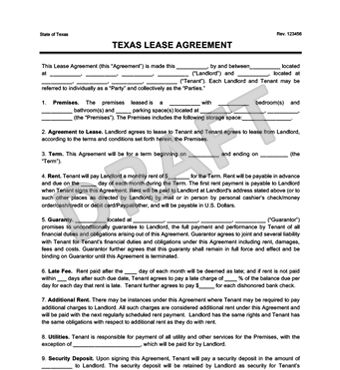 Texas Residential Lease Agreement | Create a Free Rental Agreement ...