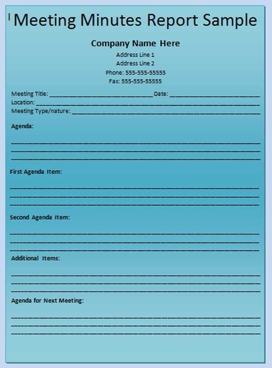 Minutes of Meeting Template - Microsoft Word Templates