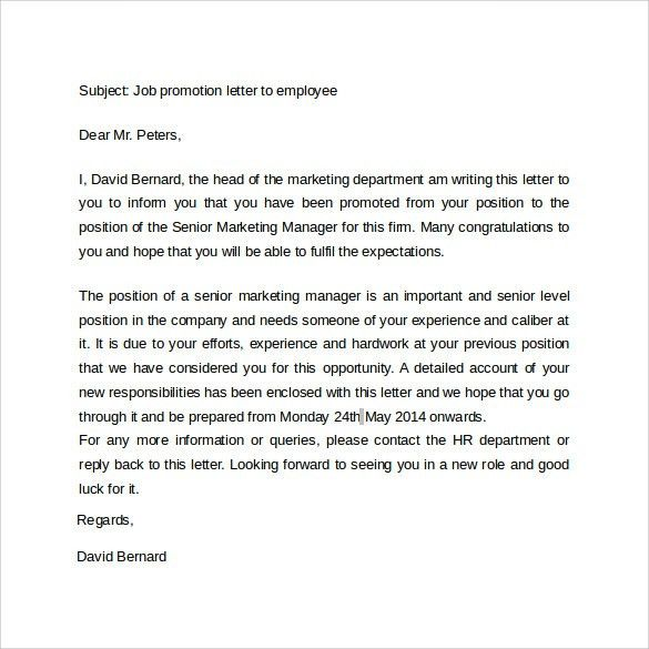Promotion Letter - 14+ Free Samples, Examples & Formats