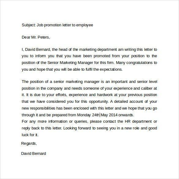 congratulations letter promotion new position congratulations ...