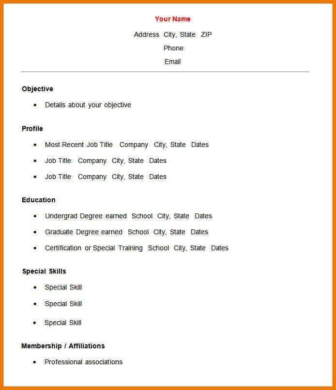 8+ basic resume format | postal-carrier