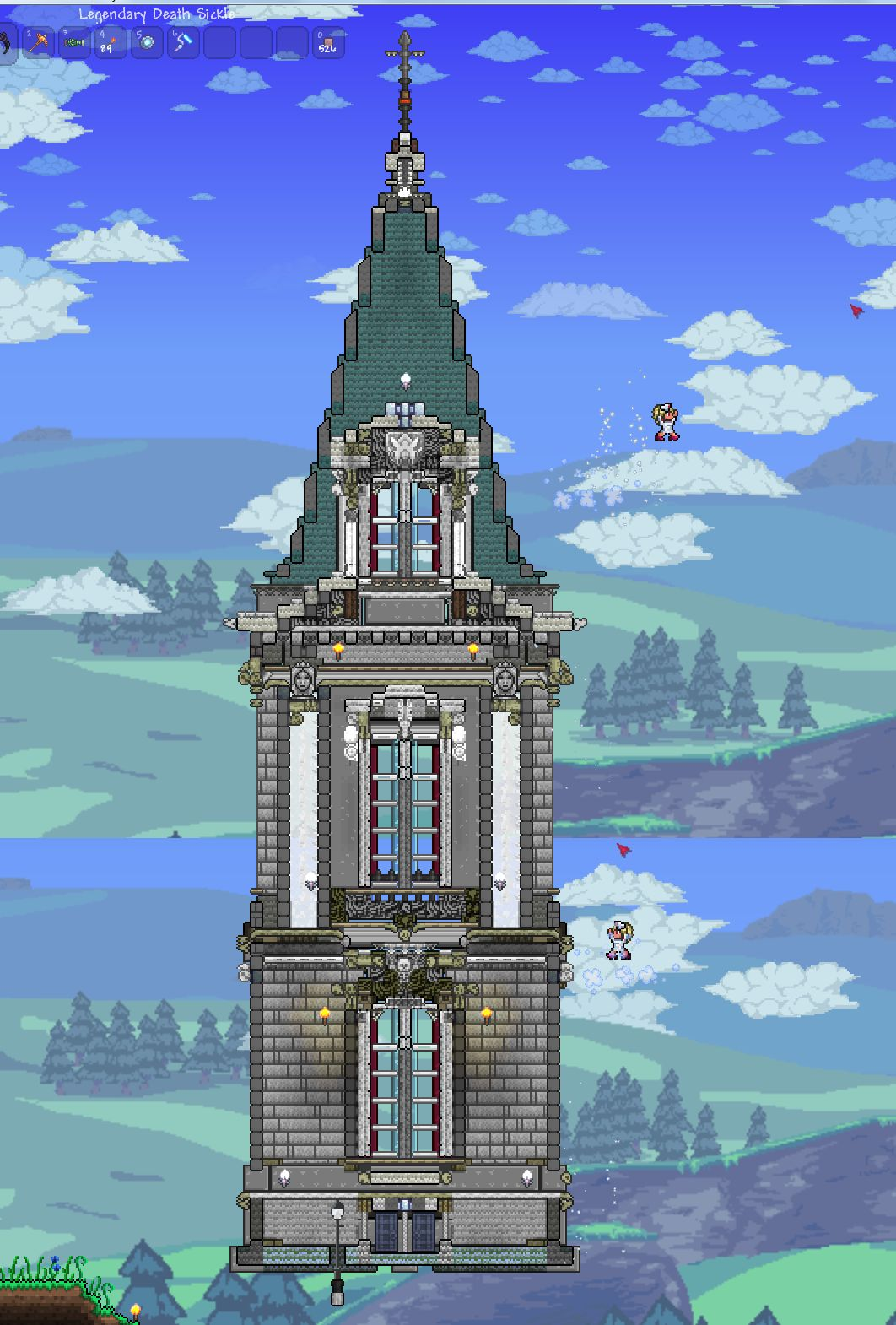 Terraria castle tower castle tower any tips terraria - After A Year Or So Work On And Off My Little Home Is Finished Terraria Gaming And Video Games
