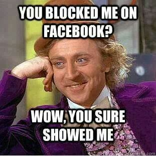 52e72cb7254b338da067d5888003e430 gotta love when people block you on facebook like they're all big,Get Blocked Meme