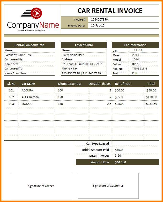 5+ Rental Invoice | Receipt Templates