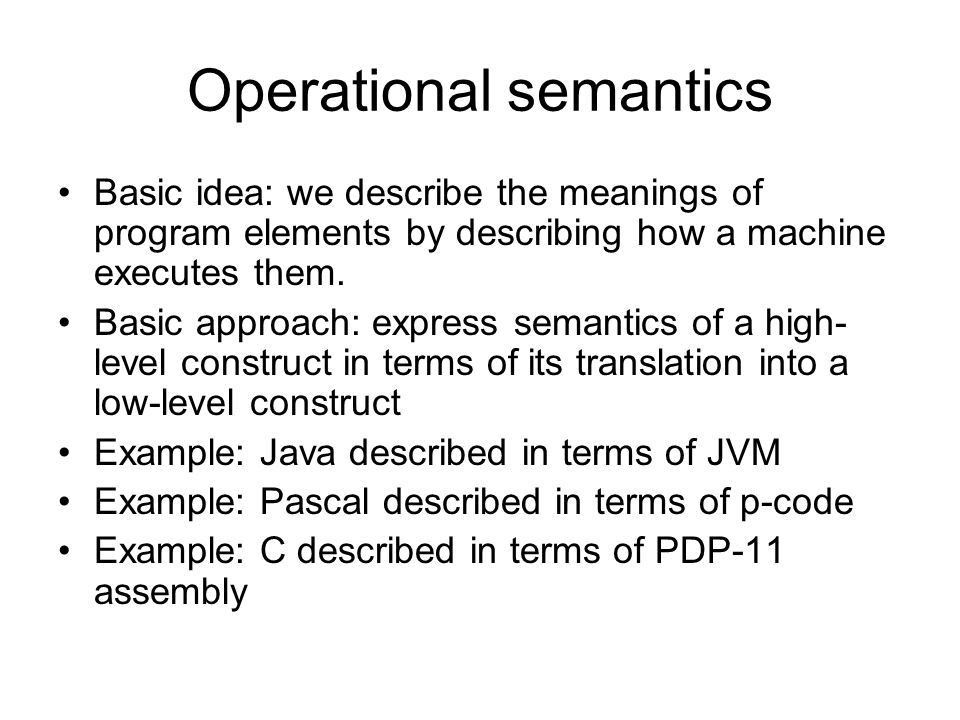 Dynamic semantics Precisely specify the meanings of programs. Why ...
