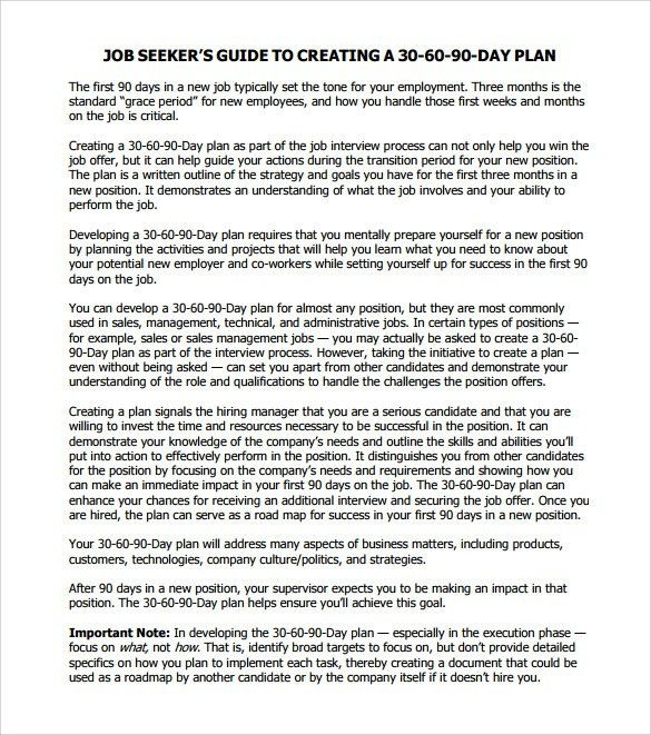 30 60 90 Day Action Plan - 7+ Documents in PDF , Word