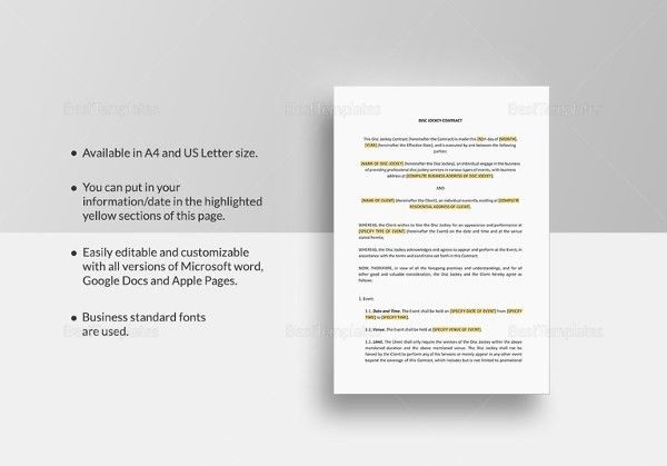 5+ DJ Contract Templates – Free Word, PDF Documents Download ...